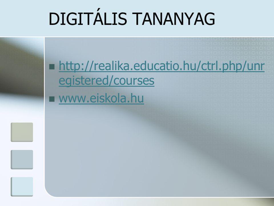 DIGITÁLIS TANANYAG http://realika.educatio.hu/ctrl.php/unr egistered/courses http://realika.educatio.hu/ctrl.php/unr egistered/courses www.eiskola.hu