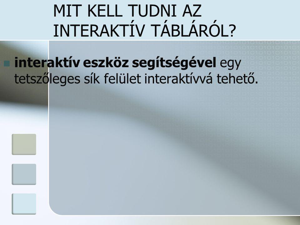 MIT KELL TUDNI AZ INTERAKTÍV TÁBLÁRÓL? interaktív eszköz segítségével egy tetszőleges sík felület interaktívvá tehető.