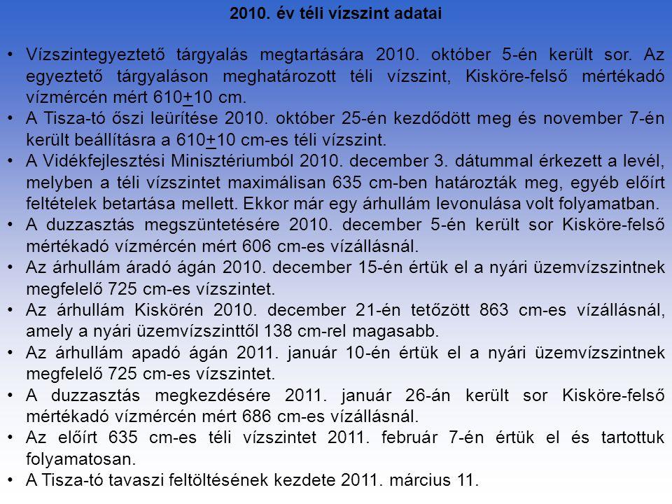 2010. év téli vízszint adatai Vízszintegyeztető tárgyalás megtartására 2010. október 5-én került sor. Az egyeztető tárgyaláson meghatározott téli vízs