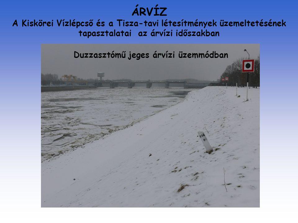 ÁRVÍZ A Kiskörei Vízlépcső és a Tisza-tavi létesítmények üzemeltetésének tapasztalatai az árvízi időszakban Duzzasztómű jeges árvízi üzemmódban