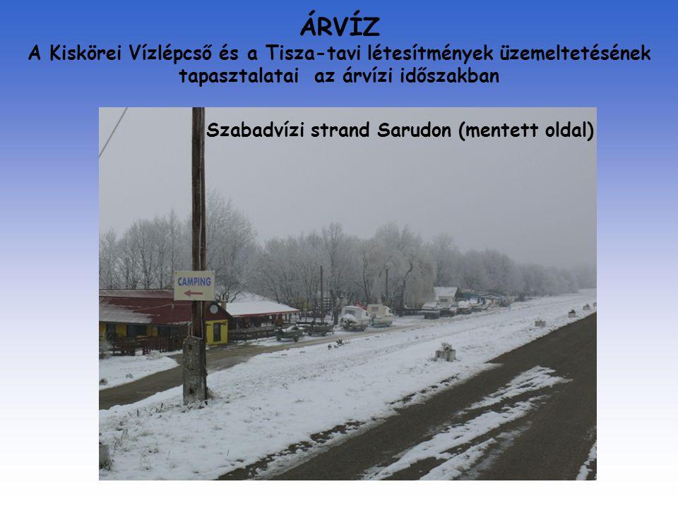 ÁRVÍZ A Kiskörei Vízlépcső és a Tisza-tavi létesítmények üzemeltetésének tapasztalatai az árvízi időszakban Szabadvízi strand Sarudon (mentett oldal)