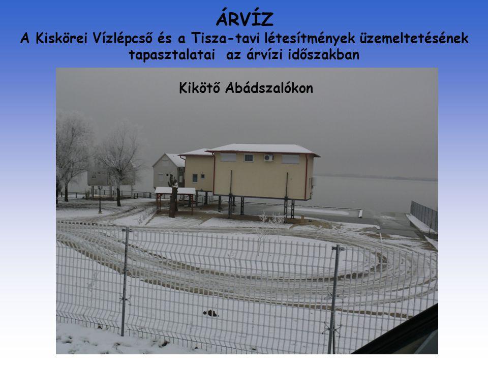 ÁRVÍZ A Kiskörei Vízlépcső és a Tisza-tavi létesítmények üzemeltetésének tapasztalatai az árvízi időszakban Kikötő Abádszalókon