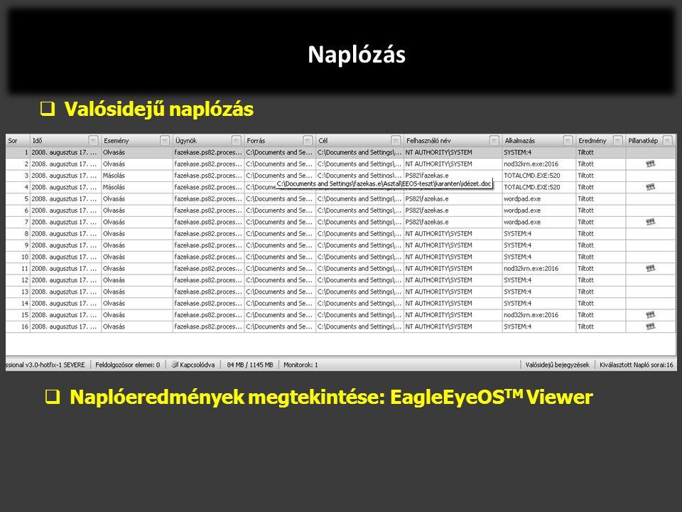  Valósidejű naplózás  Naplóeredmények megtekintése: EagleEyeOS TM Viewer Naplózás