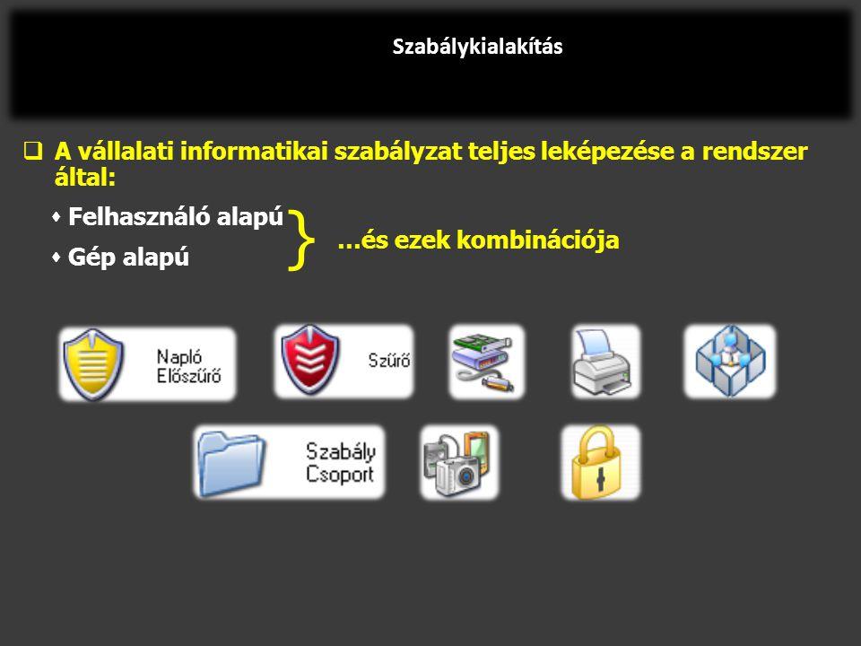  A vállalati informatikai szabályzat teljes leképezése a rendszer által:  Felhasználó alapú  Gép alapú Szabálykialakítás } …és ezek kombinációja
