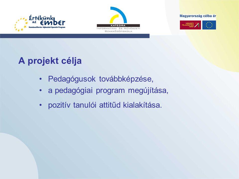A projekt célja Pedagógusok továbbképzése, a pedagógiai program megújítása, pozitív tanulói attitűd kialakítása.
