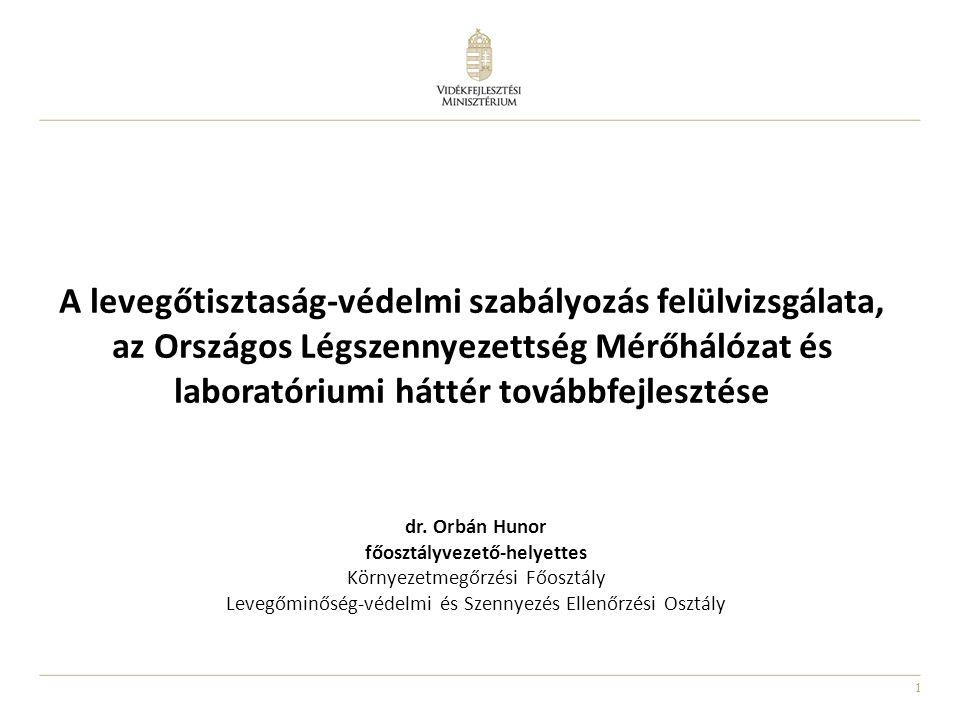 1 A levegőtisztaság-védelmi szabályozás felülvizsgálata, az Országos Légszennyezettség Mérőhálózat és laboratóriumi háttér továbbfejlesztése dr. Orbán