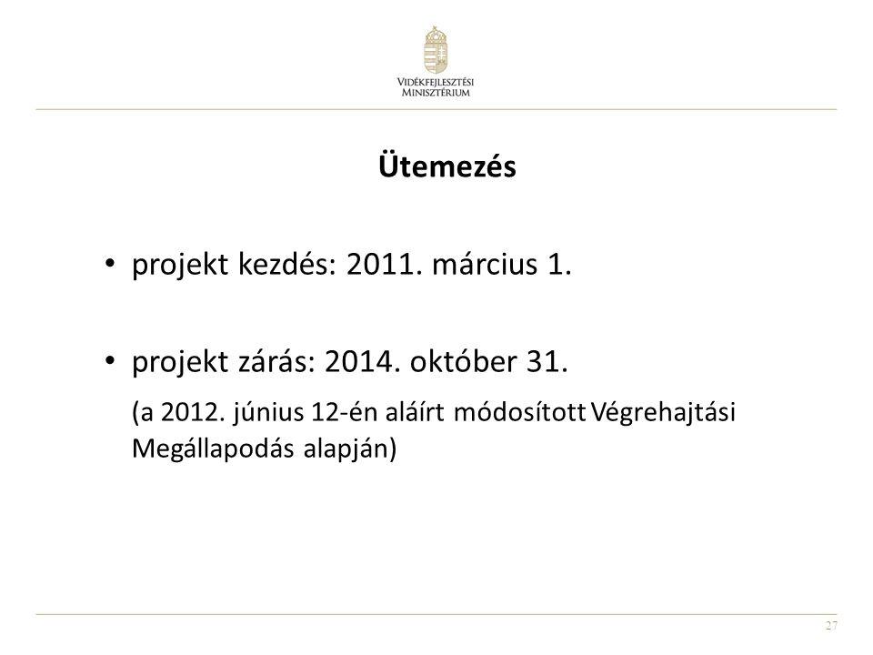 27 Ütemezés projekt kezdés: 2011. március 1. projekt zárás: 2014. október 31. (a 2012. június 12-én aláírt módosított Végrehajtási Megállapodás alapjá