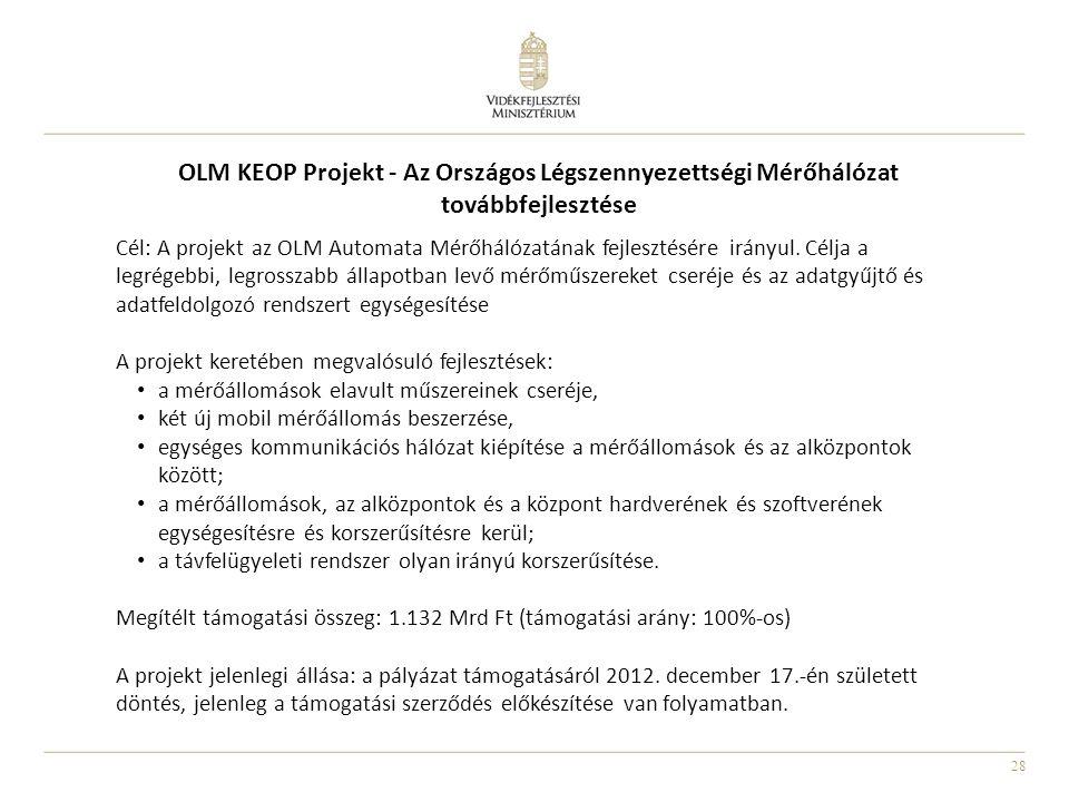 28 OLM KEOP Projekt - Az Országos Légszennyezettségi Mérőhálózat továbbfejlesztése Cél: A projekt az OLM Automata Mérőhálózatának fejlesztésére irányu