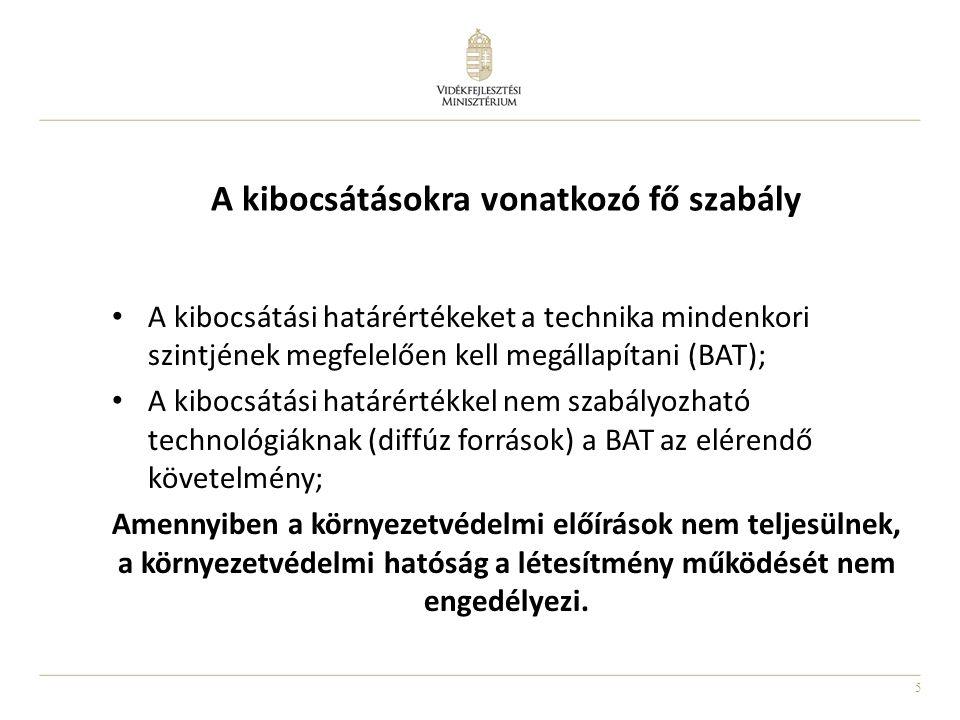 5 A kibocsátásokra vonatkozó fő szabály A kibocsátási határértékeket a technika mindenkori szintjének megfelelően kell megállapítani (BAT); A kibocsát