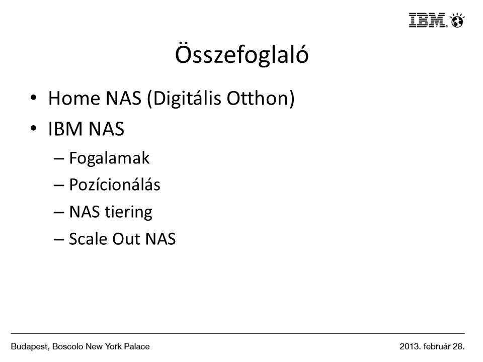 Összefoglaló Home NAS (Digitális Otthon) IBM NAS – Fogalamak – Pozícionálás – NAS tiering – Scale Out NAS