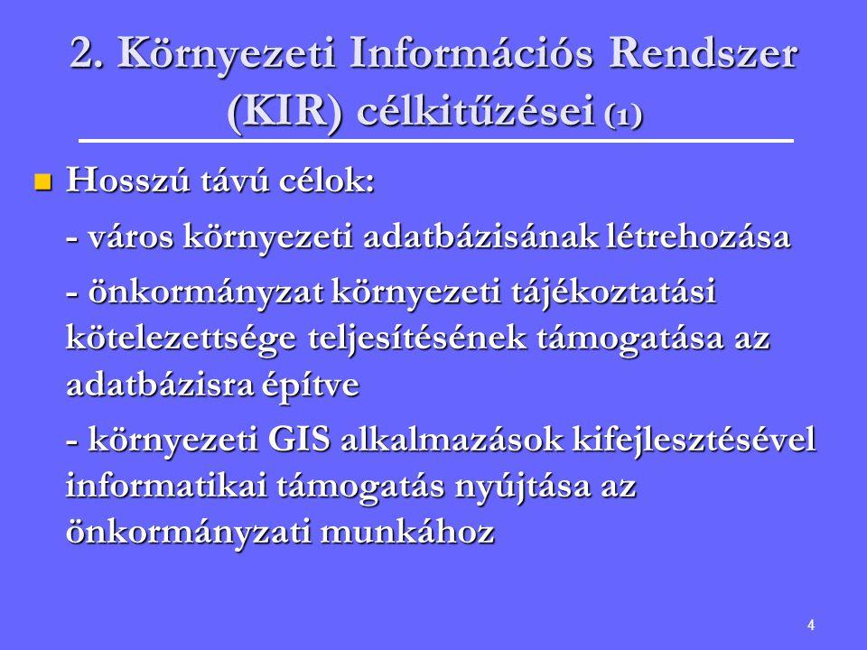 4 2. Környezeti Információs Rendszer (KIR) célkitűzései (1) Hosszú távú célok: Hosszú távú célok: - város környezeti adatbázisának létrehozása - önkor