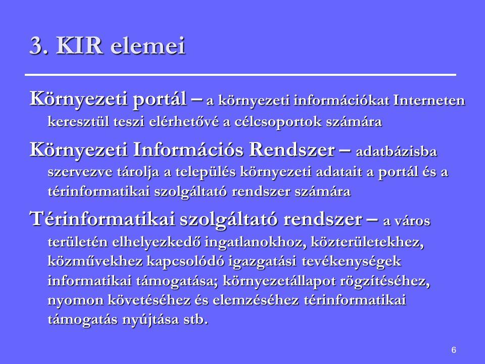6 3. KIR elemei Környezeti portál – a környezeti információkat Interneten keresztül teszi elérhetővé a célcsoportok számára Környezeti Információs Ren