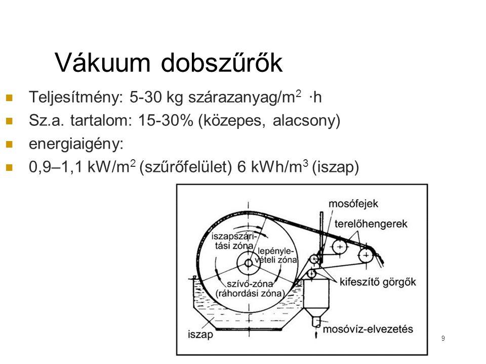 Vákuumágyas víztelenítők egyszerű felépítés, kevés mozgó gépi alkatrész kis helyigény, tág hőmérsékleti tartományban üzemel gyors szűrési ciklus (24 h) viszonylag alacsony beruházási költség Kis és közepes telepeken alkalmazzák A szűrőfelület terhelhetősége: 15–20 kgsz.a./m 2 · d 10 a) iszapbevezető cső; b) szűrőlapok; c) polimeradagoló rendszer; d) mosóvízelvezető; e) kavicságy; f) szűretlevezető cső; g) vákuumszivattyú; h) zsompszivattyú; i) vízszintmérő eszközök; J) letermelő nyílás; k) mosóvíz