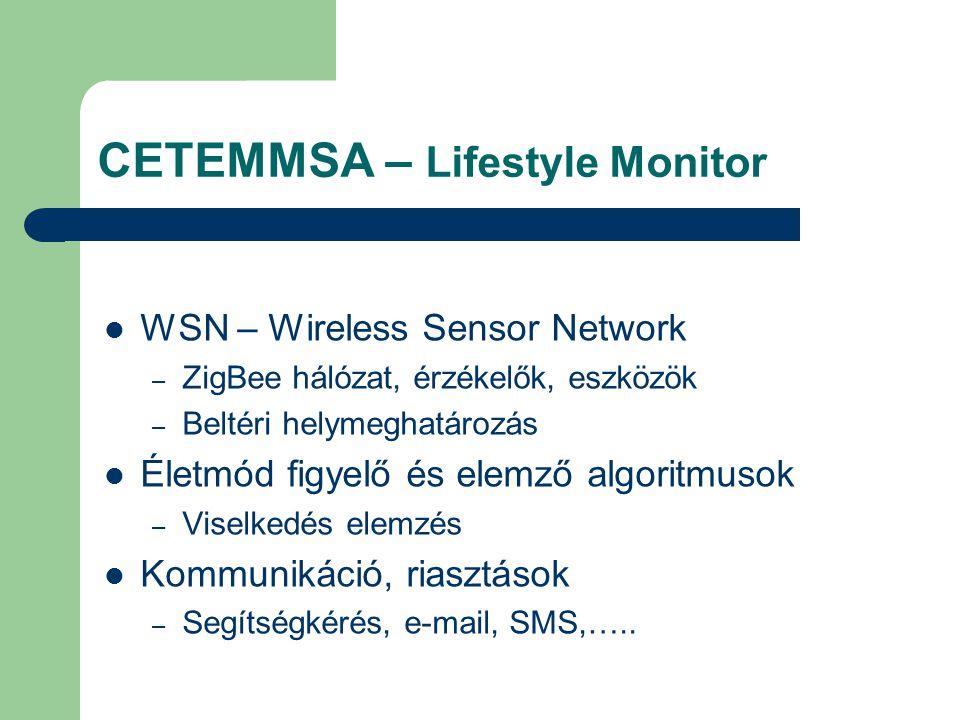 CETEMMSA – Lifestyle Monitor WSN – Wireless Sensor Network – ZigBee hálózat, érzékelők, eszközök – Beltéri helymeghatározás Életmód figyelő és elemző algoritmusok – Viselkedés elemzés Kommunikáció, riasztások – Segítségkérés, e-mail, SMS,…..