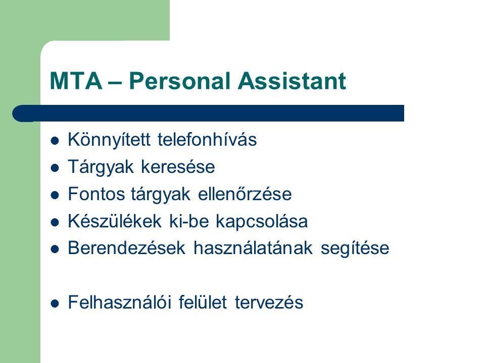 MTA – Personal Assistant Könnyített telefonhívás Tárgyak keresése Fontos tárgyak ellenőrzése Készülékek ki-be kapcsolása Berendezések használatának segítése Felhasználói felület tervezés