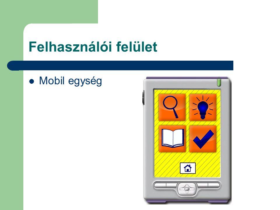 Felhasználói felület Mobil egység
