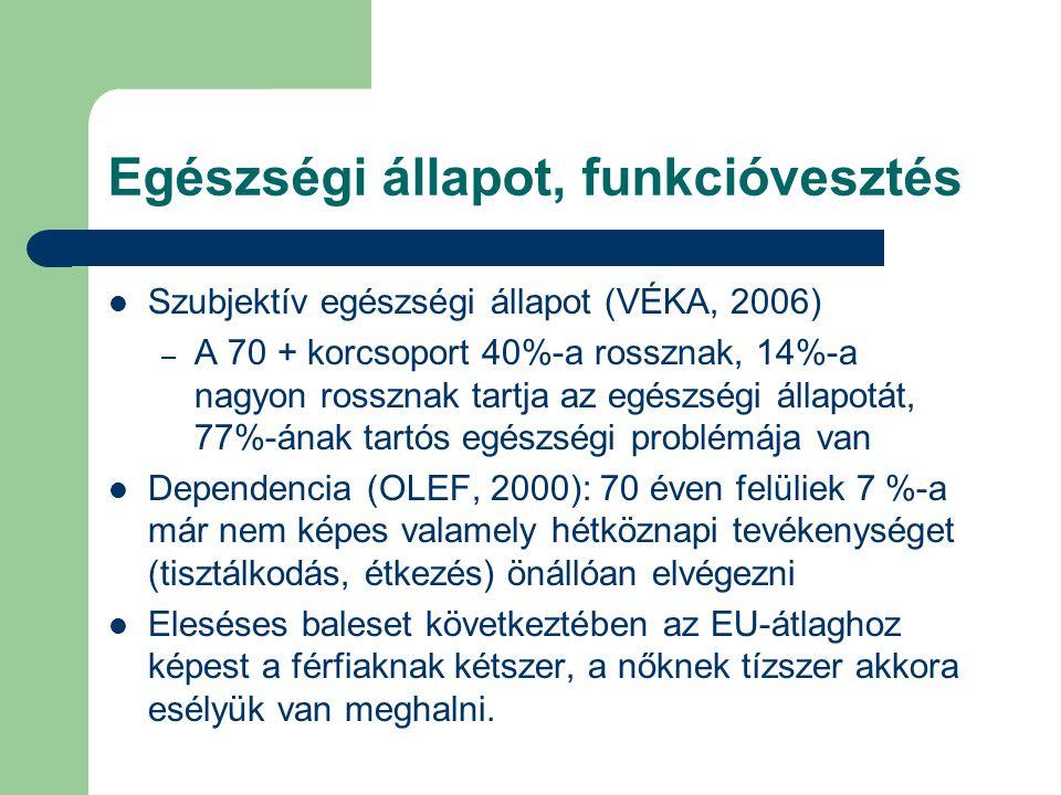 Egészségi állapot, funkcióvesztés Szubjektív egészségi állapot (VÉKA, 2006) – A 70 + korcsoport 40%-a rossznak, 14%-a nagyon rossznak tartja az egészségi állapotát, 77%-ának tartós egészségi problémája van Dependencia (OLEF, 2000): 70 éven felüliek 7 %-a már nem képes valamely hétköznapi tevékenységet (tisztálkodás, étkezés) önállóan elvégezni Eleséses baleset következtében az EU-átlaghoz képest a férfiaknak kétszer, a nőknek tízszer akkora esélyük van meghalni.