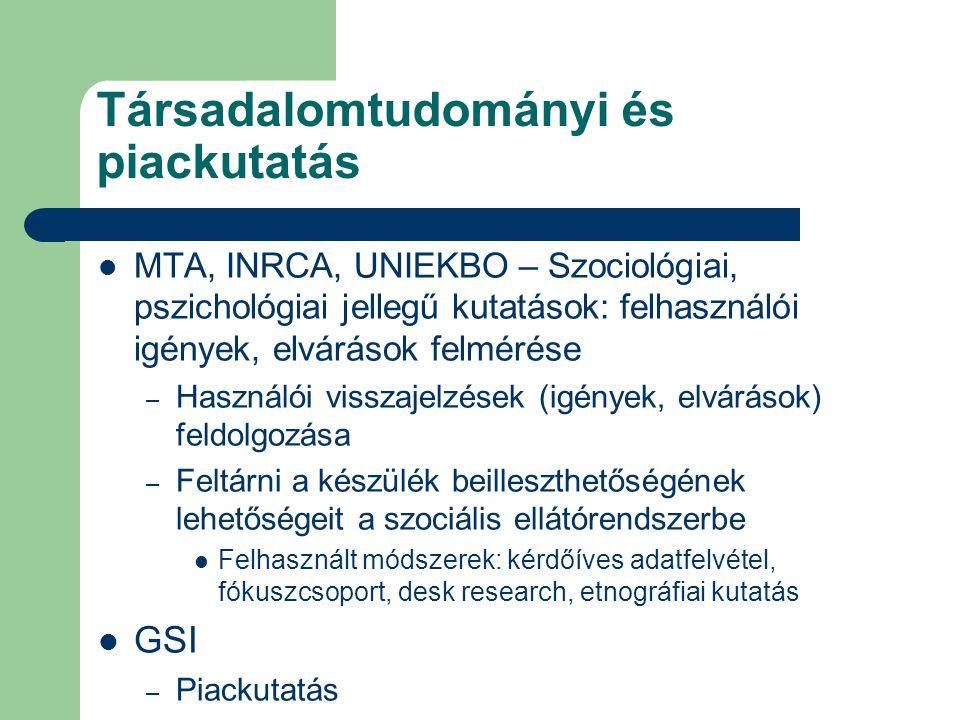 Társadalomtudományi és piackutatás MTA, INRCA, UNIEKBO – Szociológiai, pszichológiai jellegű kutatások: felhasználói igények, elvárások felmérése – Használói visszajelzések (igények, elvárások) feldolgozása – Feltárni a készülék beilleszthetőségének lehetőségeit a szociális ellátórendszerbe Felhasznált módszerek: kérdőíves adatfelvétel, fókuszcsoport, desk research, etnográfiai kutatás GSI – Piackutatás