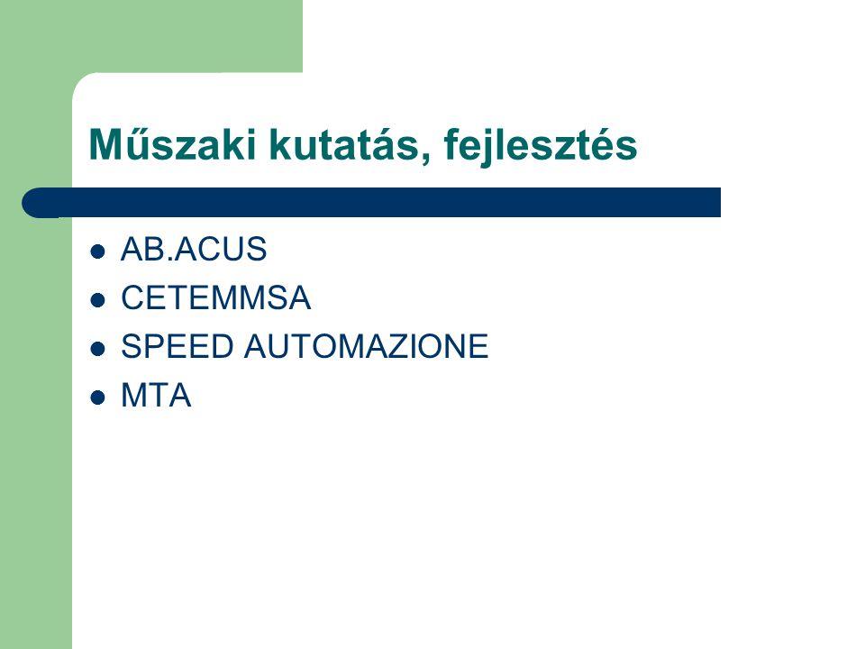 Műszaki kutatás, fejlesztés AB.ACUS CETEMMSA SPEED AUTOMAZIONE MTA