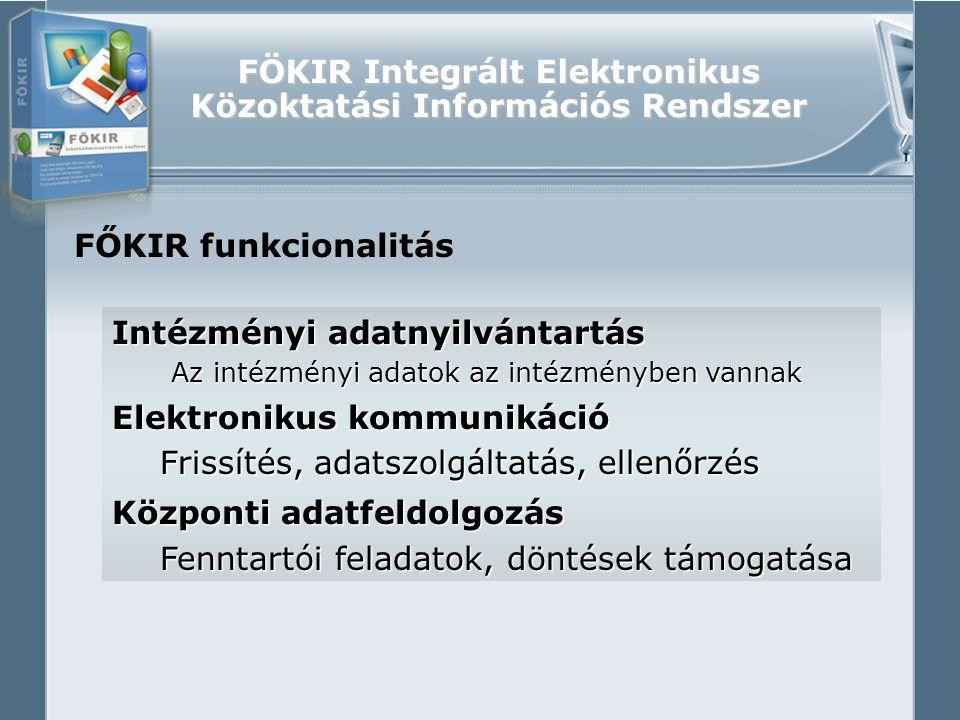 """FÖKIR Integrált Elektronikus Közoktatási Információs Rendszer FŐKIR követelmények Elektronikus rendszer legyen Adatnyilvántartás/Adatszolgáltatás/Ellenőrzés/Feldolgozás Adatnyilvántartás/Adatszolgáltatás/Ellenőrzés/Feldolgozás Integrált legyen Tanügy/Statisztika/Munkaügy/Finanszírozás/… Tanügy/Statisztika/Munkaügy/Finanszírozás/… Egységes legyen Minden intézményben, minden intézménytípusban Sztenderdizált legyen Jogszabálykövetés, azonos értelmezés """"Védett legyen Adatvédelem, intézményi rendszerintegráció..."""