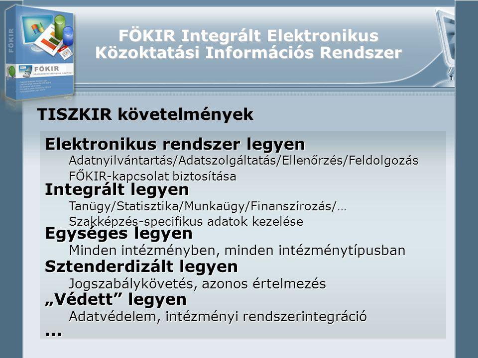 """FÖKIR Integrált Elektronikus Közoktatási Információs Rendszer TISZKIR követelmények Elektronikus rendszer legyen Adatnyilvántartás/Adatszolgáltatás/Ellenőrzés/Feldolgozás FŐKIR-kapcsolat biztosítása Integrált legyen Tanügy/Statisztika/Munkaügy/Finanszírozás/… Szakképzés-specifikus adatok kezelése Egységes legyen Minden intézményben, minden intézménytípusban Sztenderdizált legyen Jogszabálykövetés, azonos értelmezés """"Védett legyen Adatvédelem, intézményi rendszerintegráció..."""