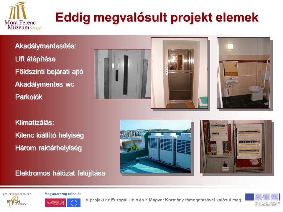 Eddig megvalósult projekt elemek Akadálymentesítés: Lift átépítése Földszinti bejárati ajtó Akadálymentes wc ParkolókKlimatizálás: Kilenc kiállító hel