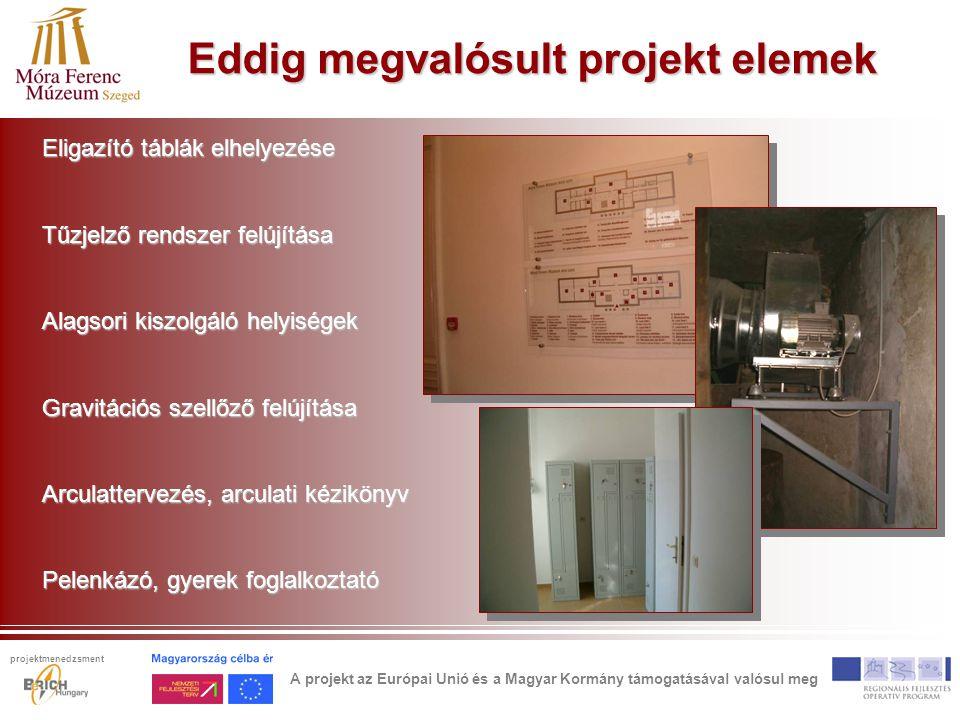 Eddig megvalósult projekt elemek Eligazító táblák elhelyezése Tűzjelző rendszer felújítása Alagsori kiszolgáló helyiségek Gravitációs szellőző felújítása Arculattervezés, arculati kézikönyv Pelenkázó, gyerek foglalkoztató A projekt az Európai Unió és a Magyar Kormány támogatásával valósul meg projektmenedzsment