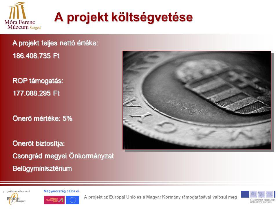 A projekt költségvetése A projekt teljes nettó értéke: 186.408.735 Ft ROP támogatás: 177.088.295 Ft Önerő mértéke: 5% Önerőt biztosítja: Csongrád megyei Önkormányzat Belügyminisztérium A projekt az Európai Unió és a Magyar Kormány támogatásával valósul meg projektmenedzsment