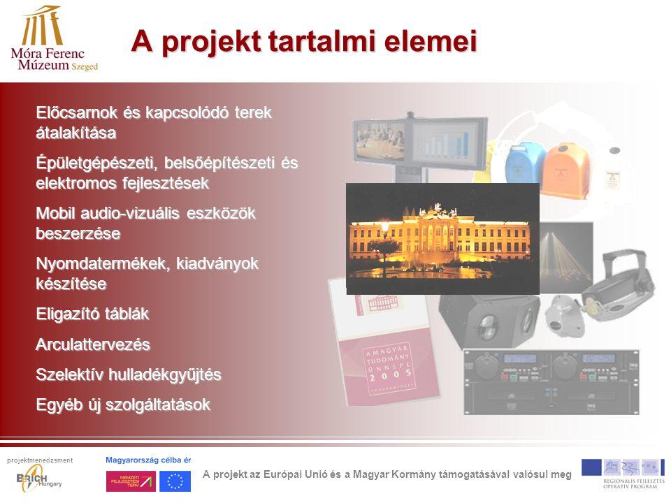 A projekt tartalmi elemei Előcsarnok és kapcsolódó terek átalakítása Épületgépészeti, belsőépítészeti és elektromos fejlesztések Mobil audio-vizuális eszközök beszerzése Nyomdatermékek, kiadványok készítése Eligazító táblák Arculattervezés Szelektív hulladékgyűjtés Egyéb új szolgáltatások A projekt az Európai Unió és a Magyar Kormány támogatásával valósul meg projektmenedzsment