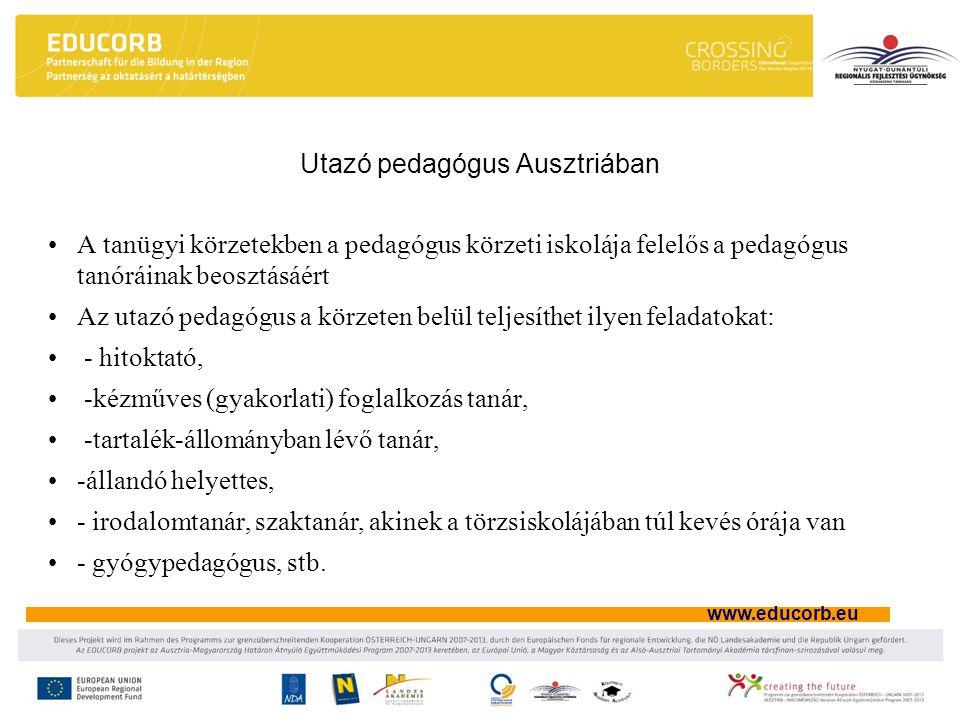 www.educorb.eu Utazó pedagógus Ausztriában A tanügyi körzetekben a pedagógus körzeti iskolája felelős a pedagógus tanóráinak beosztásáért Az utazó pedagógus a körzeten belül teljesíthet ilyen feladatokat: - hitoktató, -kézműves (gyakorlati) foglalkozás tanár, -tartalék-állományban lévő tanár, -állandó helyettes, - irodalomtanár, szaktanár, akinek a törzsiskolájában túl kevés órája van - gyógypedagógus, stb.