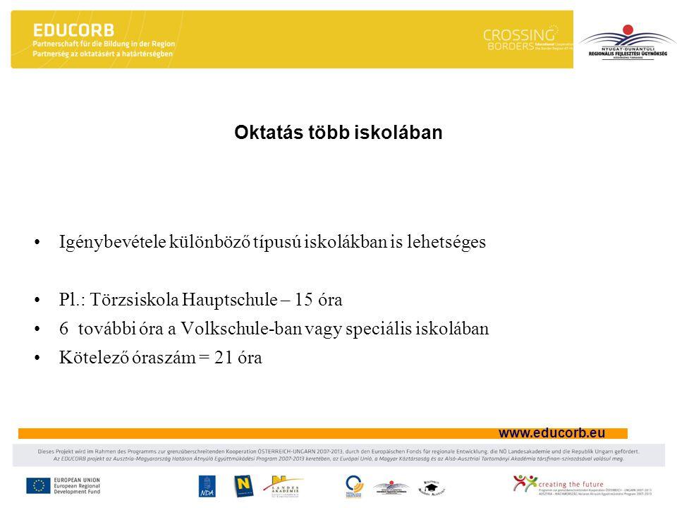 www.educorb.eu Oktatás több iskolában Igénybevétele különböző típusú iskolákban is lehetséges Pl.: Törzsiskola Hauptschule – 15 óra 6 további óra a Vo