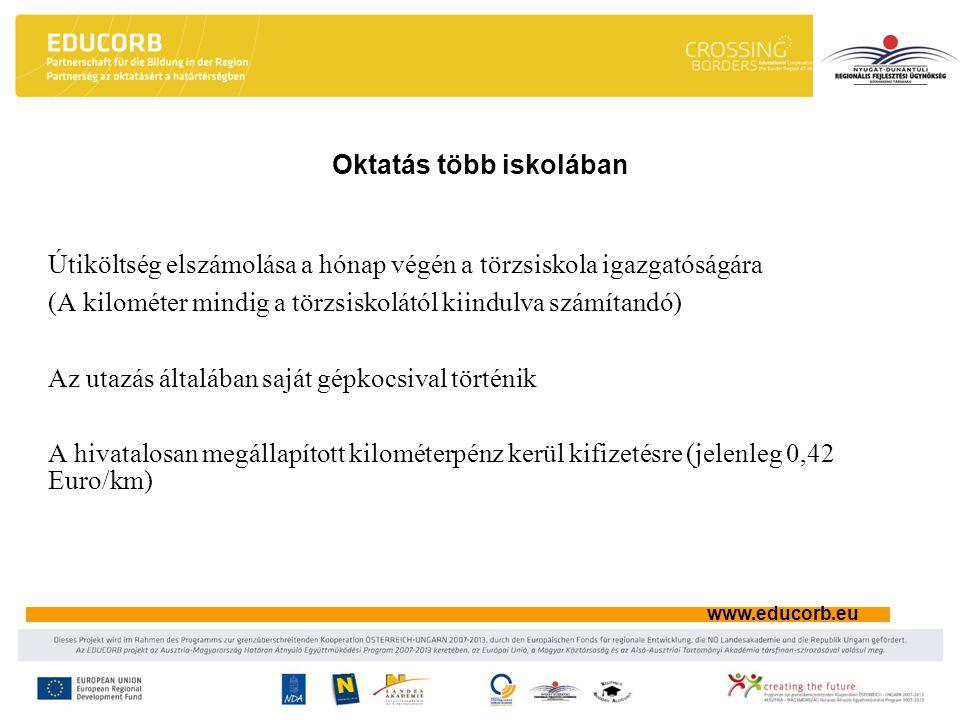 www.educorb.eu Oktatás több iskolában Útiköltség elszámolása a hónap végén a törzsiskola igazgatóságára (A kilométer mindig a törzsiskolától kiindulva számítandó) Az utazás általában saját gépkocsival történik A hivatalosan megállapított kilométerpénz kerül kifizetésre (jelenleg 0,42 Euro/km)
