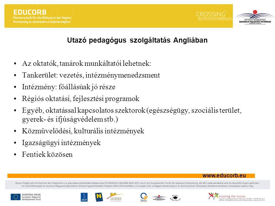 www.educorb.eu Utazó pedagógus szolgáltatás Angliában Az oktatók, tanárok munkáltatói lehetnek: Tankerület: vezetés, intézménymenedzsment Intézmény: f