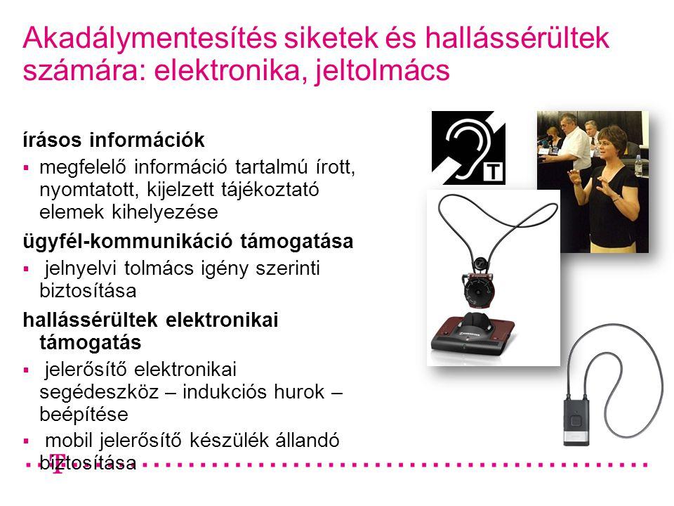Akadálymentesítés siketek és hallássérültek számára: elektronika, jeltolmács írásos információk  megfelelő információ tartalmú írott, nyomtatott, kij