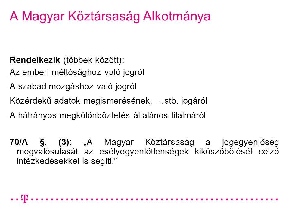 A Magyar Köztársaság Alkotmánya Rendelkezik (többek között): Az emberi méltósághoz való jogról A szabad mozgáshoz való jogról Közérdekű adatok megisme