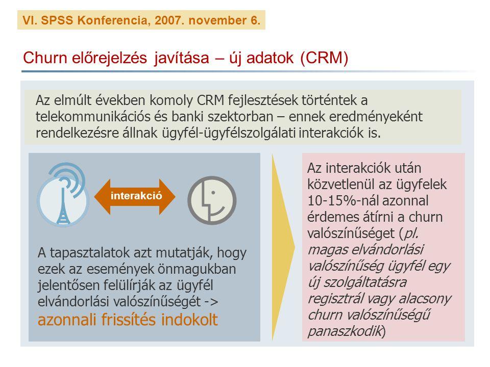 VI. SPSS Konferencia, 2007. november 6. Churn előrejelzés javítása – új adatok (CRM) Az elmúlt években komoly CRM fejlesztések történtek a telekommuni
