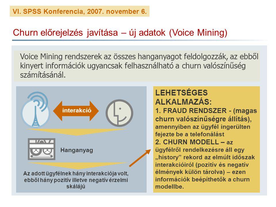 VI. SPSS Konferencia, 2007. november 6. Churn előrejelzés javítása – új adatok (Voice Mining) Voice Mining rendszerek az összes hanganyagot feldolgozz