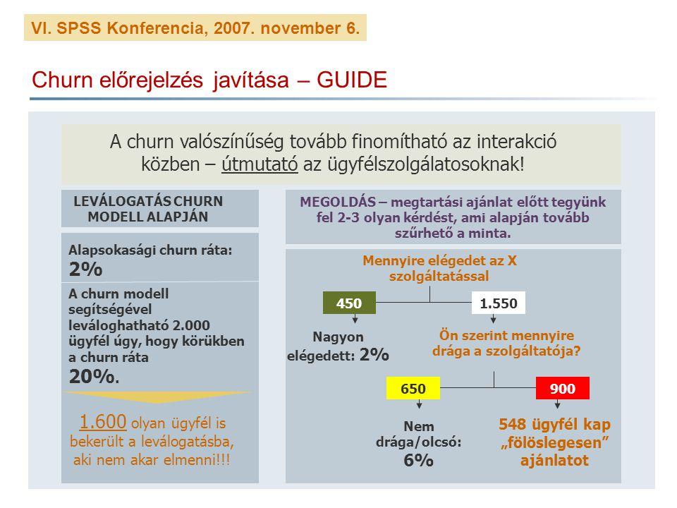 VI. SPSS Konferencia, 2007. november 6. Churn előrejelzés javítása – GUIDE A churn valószínűség tovább finomítható az interakció közben – útmutató az