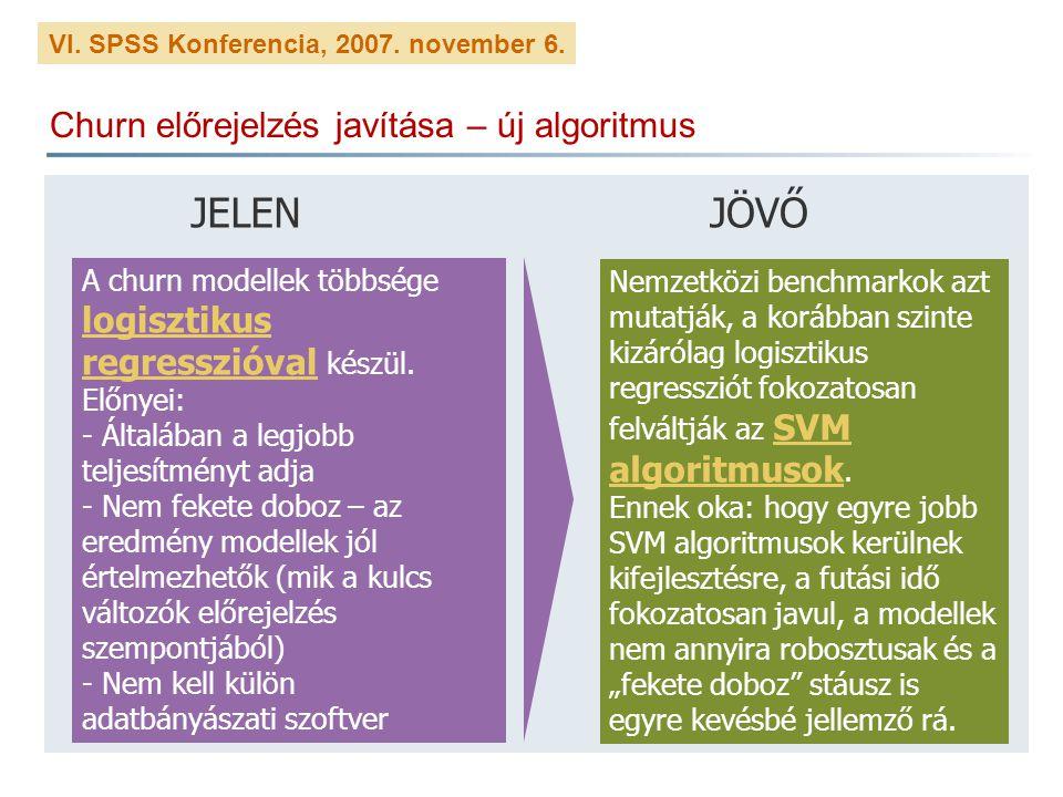 VI. SPSS Konferencia, 2007. november 6. Churn előrejelzés javítása – új algoritmus JELENJÖVŐ A churn modellek többsége logisztikus regresszióval készü