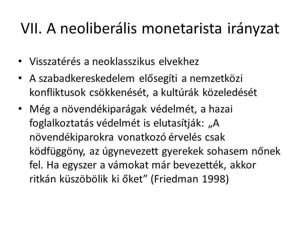 VII. A neoliberális monetarista irányzat Visszatérés a neoklasszikus elvekhez A szabadkereskedelem elősegíti a nemzetközi konfliktusok csökkenését, a