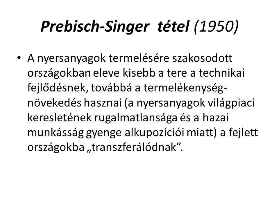 Prebisch-Singer tétel (1950) A nyersanyagok termelésére szakosodott országokban eleve kisebb a tere a technikai fejlődésnek, továbbá a termelékenység-