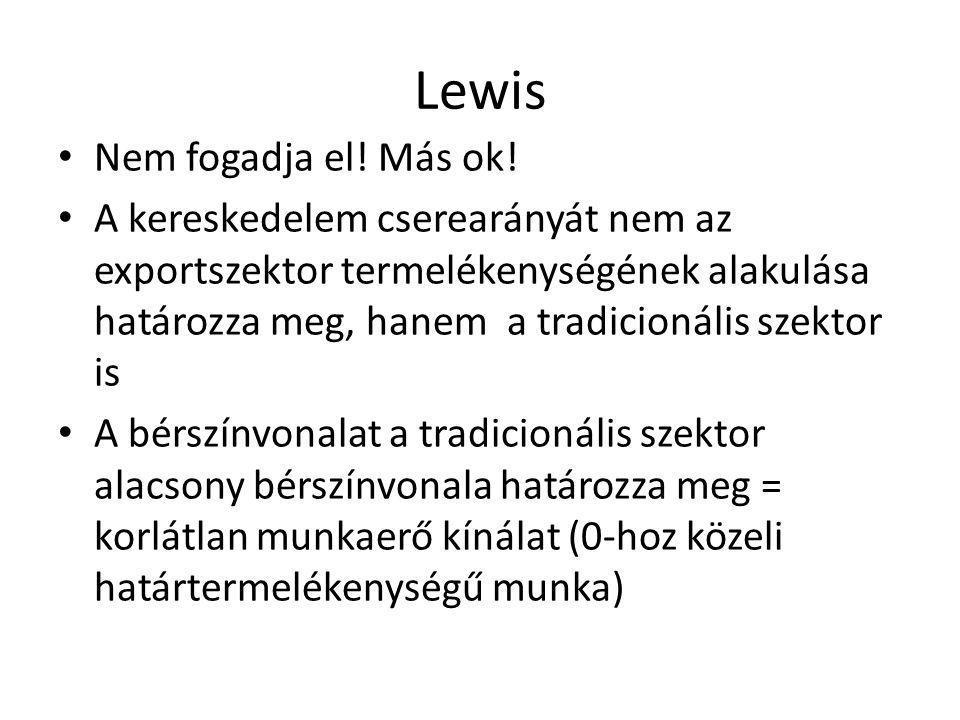 Lewis Nem fogadja el! Más ok! A kereskedelem cserearányát nem az exportszektor termelékenységének alakulása határozza meg, hanem a tradicionális szekt