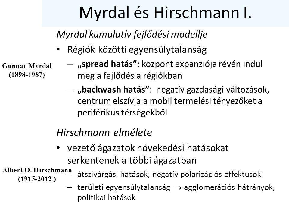 """Myrdal és Hirschmann I. Myrdal kumulatív fejlődési modellje Régiók közötti egyensúlytalanság – """"spread hatás"""": központ expanziója révén indul meg a fe"""