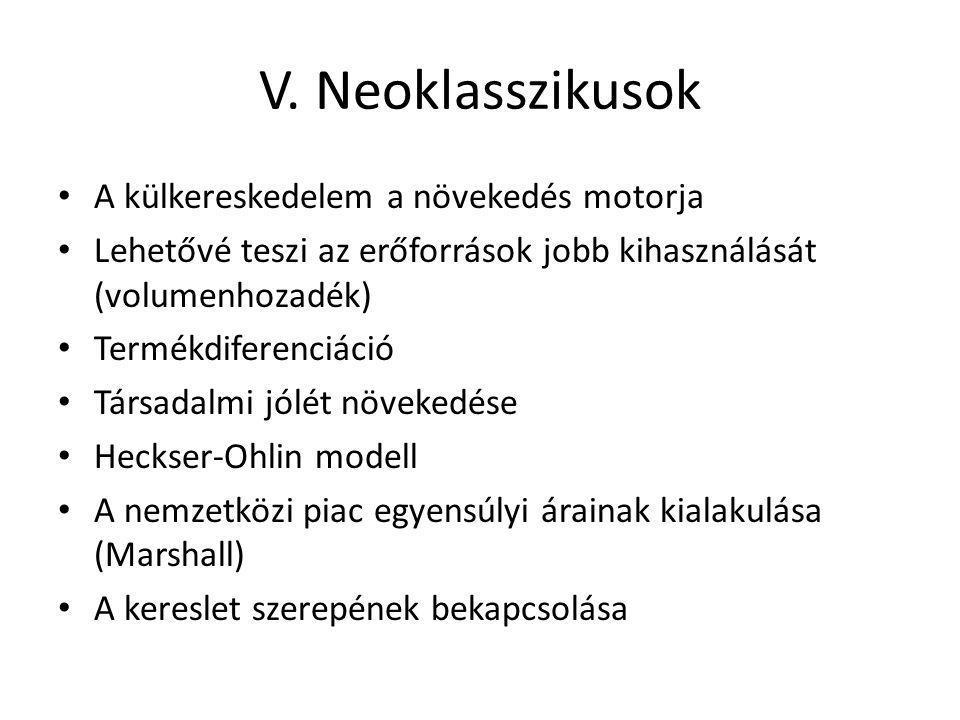 V. Neoklasszikusok A külkereskedelem a növekedés motorja Lehetővé teszi az erőforrások jobb kihasználását (volumenhozadék) Termékdiferenciáció Társada