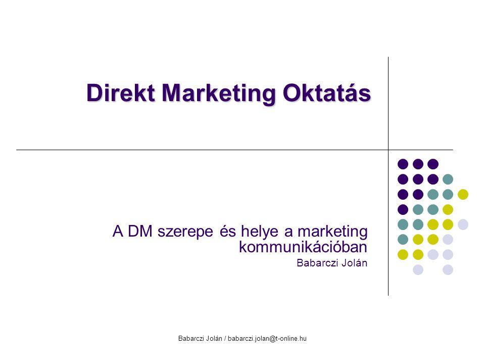 Babarczi Jolán / babarczi.jolan@t-online.hu Az előadás tematikája A DM térnyerése a marketing kommunikációban Kutatások és eredmények DMSz kutatás DM stratégia kialakításának alapkérdései DM médiumok, jellegzetességek, kiválasztási szempontok