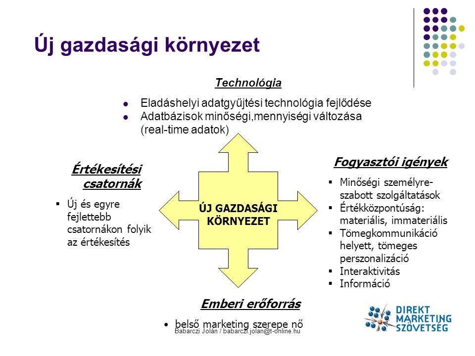 Babarczi Jolán / babarczi.jolan@t-online.hu Új gazdasági környezet ÚJ GAZDASÁGI KÖRNYEZET Értékesítési csatornák  Új és egyre fejlettebb csatornákon