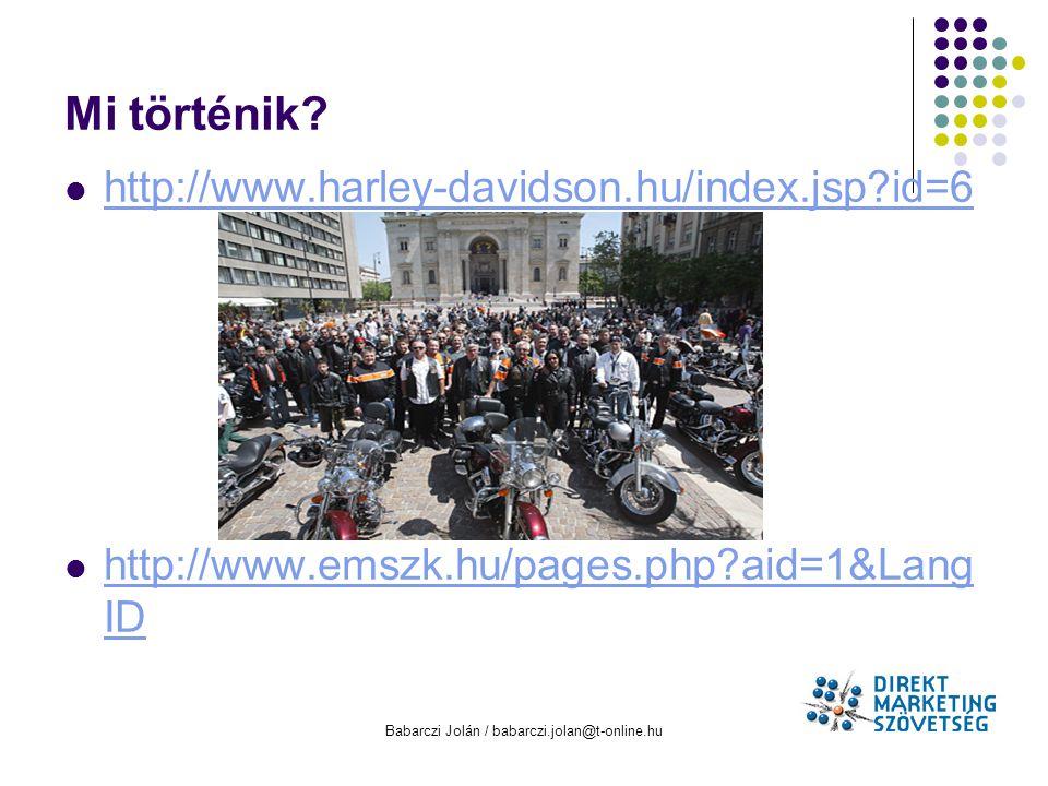 Babarczi Jolán / babarczi.jolan@t-online.hu Mi történik? http://www.harley-davidson.hu/index.jsp?id=6 http://www.emszk.hu/pages.php?aid=1&Lang ID http