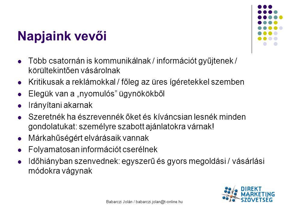 Babarczi Jolán / babarczi.jolan@t-online.hu Napjaink vevői Több csatornán is kommunikálnak / információt gyűjtenek / körültekintően vásárolnak Kritiku