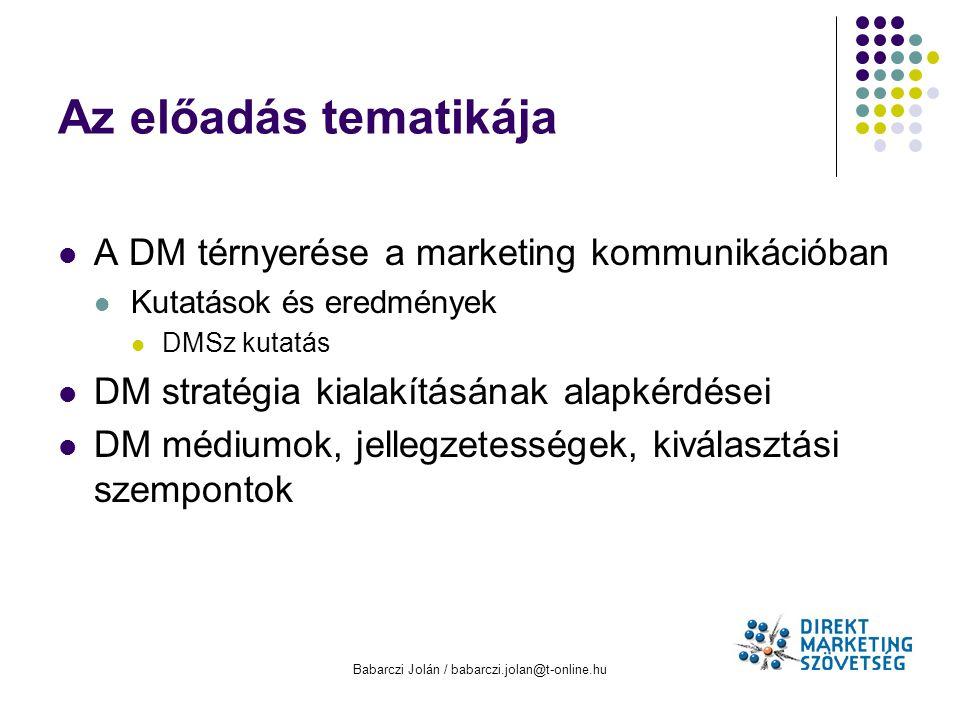 Babarczi Jolán / babarczi.jolan@t-online.hu Az előadás tematikája A DM térnyerése a marketing kommunikációban Kutatások és eredmények DMSz kutatás DM