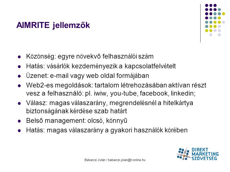 Babarczi Jolán / babarczi.jolan@t-online.hu AIMRITE jellemzők K ö z ö ns é g: egyre n ö vekvő felhaszn á l ó i sz á m Hat á s: v á s á rl ó k kezdem é